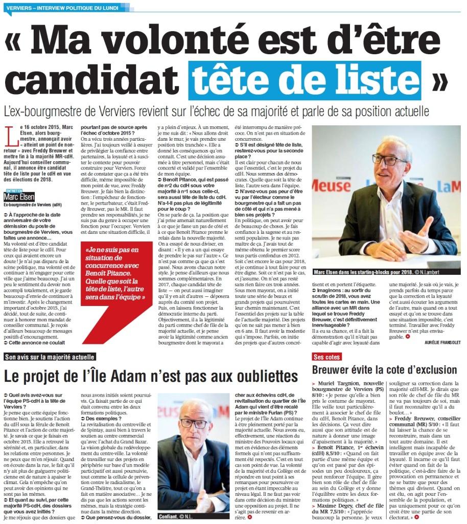 Mon interview pour La Meuse